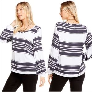 Chaser | Balloon Sleeve Gray & White Striped Top